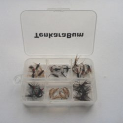 Fly box showing rows of flies.