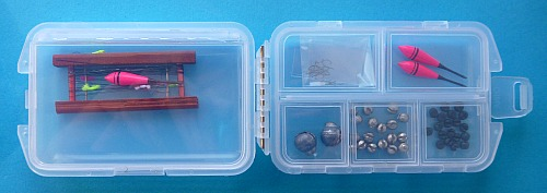 Tanago Tackle Box, open, showing what it can hold