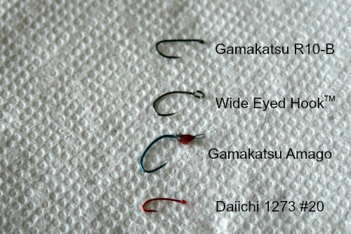 Comparison of four hooks: Gamakatsu R10-B, Wide Eyed Hook, Gamakatsu Amago and Daiichi 1273 size 20.