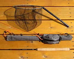 Ebira rod quiver, with net and tenkara rod.