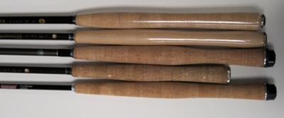 Grip Comparison - (from top) Ayu, Iwana II, Unagi, Iwana I, Wakata