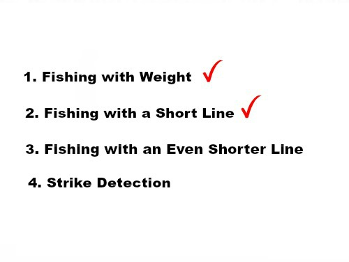Slide: 1. Fishing with Weight. Checkmark. 2. Fishing with Short Line. Checkmark> 3. Fishing with an Even Shorter Line. 4. Strike Detection