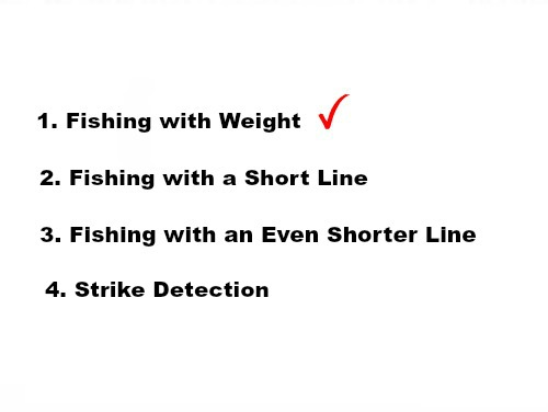 Slide: 1. Fishing with Weight. Checkmark. 2. Fishing with a Short Line. 3. Fishing with an Even Shorter Line. 4. Strike Detection