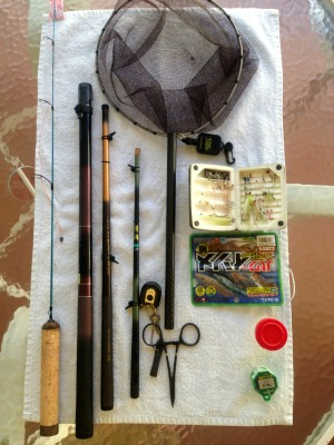 Rods, net, tools, flies, artificial baits