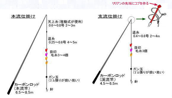 Slilde: Illustration of honryu and keiryu rigs showing rod, line, markers, weight and hook. Keiryu rig is much shorter.