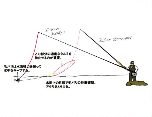 Slide: Same illustration of sagging tenkara line, with addition of a long keiryu rod and nearly vertical line.