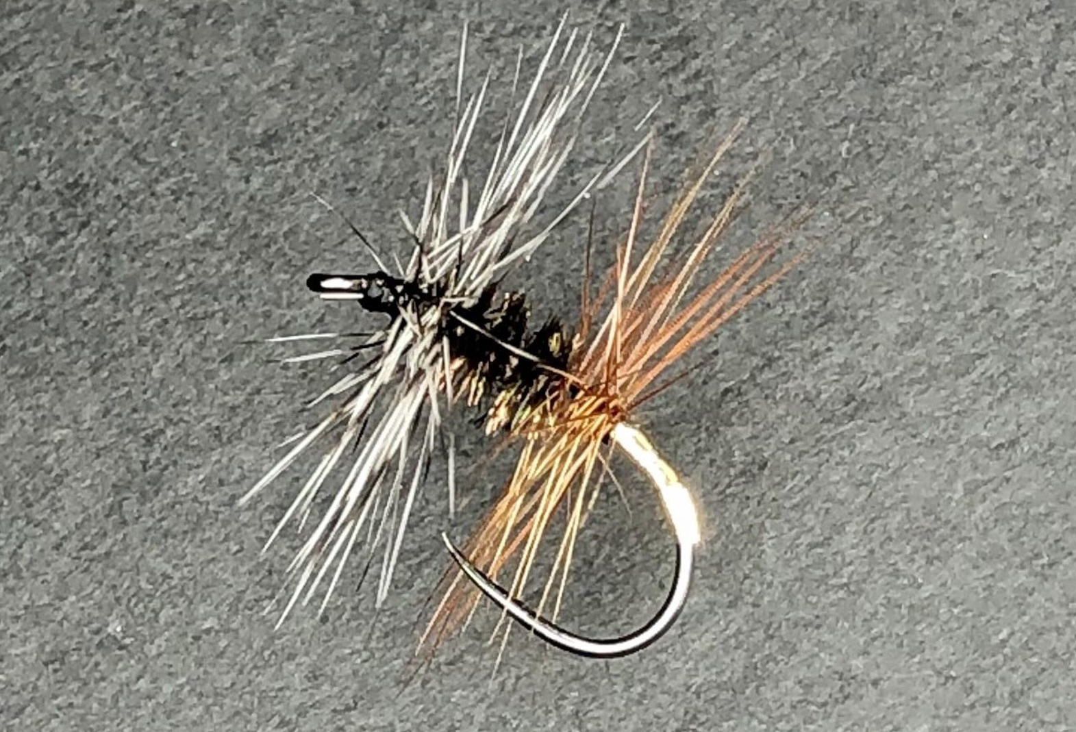 Renegade dry fly - grizzly and brown hackle