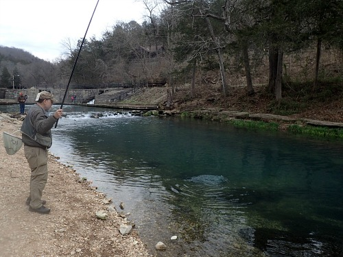 Angler fishing in a Missouri Trout Park