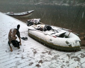 Snowy boat ramp and Erik's dog