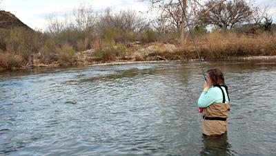 The South Llano River Offers Excellent Tenkara and Keiryu Angling. Here Robin does good work with her Suntech Field Master.