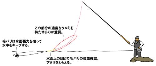 Slide: Illustation of a tenkara angler showing line sagging from gravity