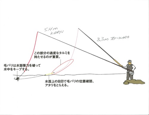 Illustration comparing line angle of keiryu and tenkara rods