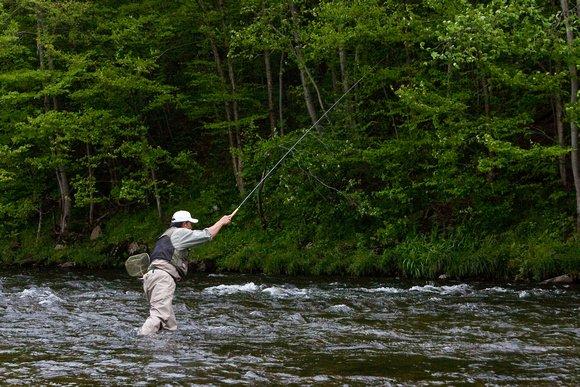 Dr. Ishigaki holding his rod high, fishing  long line in the Catskills
