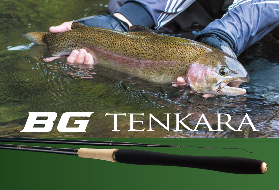 Text on photo reads BG TENKARA. Photo shows 22 inch trout and the rod's grip.