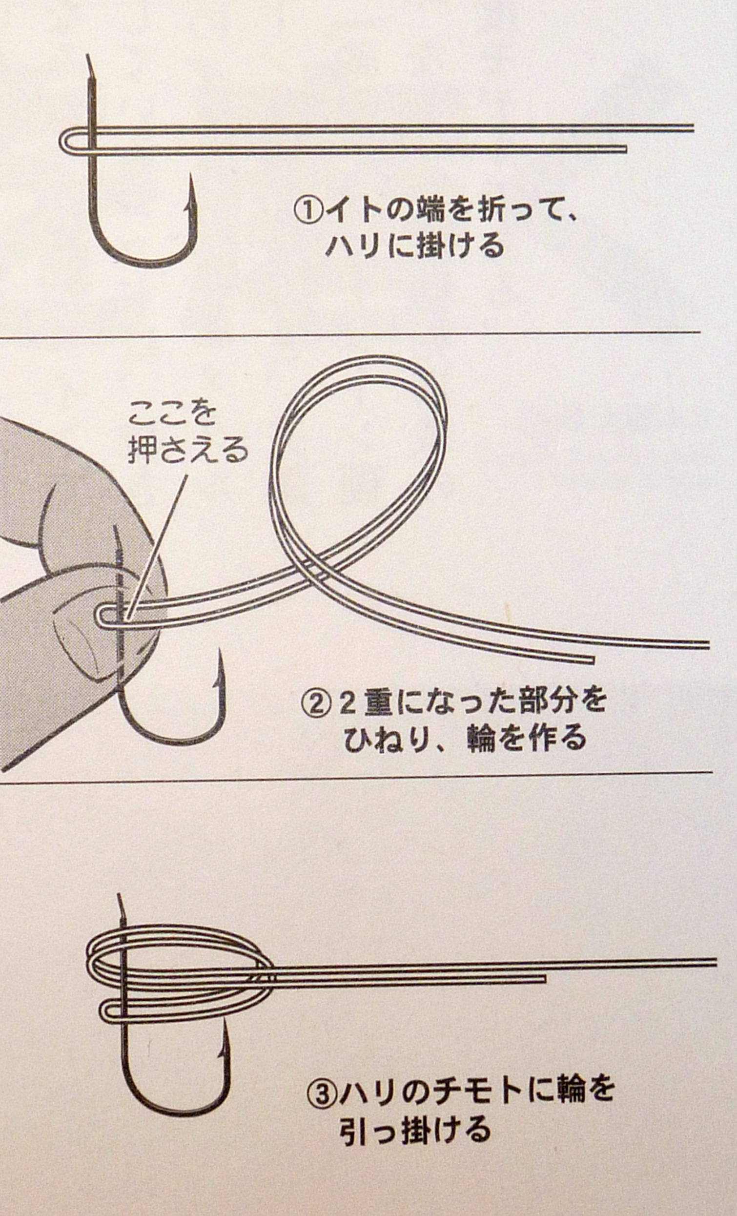 Illustration showing simple method of snelling a hook. Steps explained in text below.
