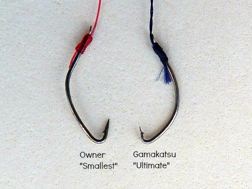 Comparison of Owner Smallest and Gamakatsu Ultimate tanago hooks.