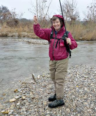 Robin and her Suntech Field Master, the South Llano River, and a Rainbow Trout
