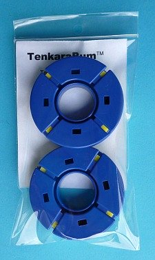 Package of two round blue tenkara line holders.