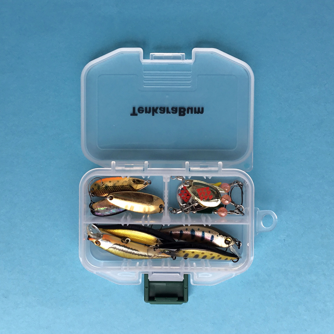 Meiho Fly Case SS (open) showing a variety of lures inside