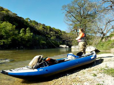 Robin prefers our steadier, inflatable, heavy-duty double kayak.