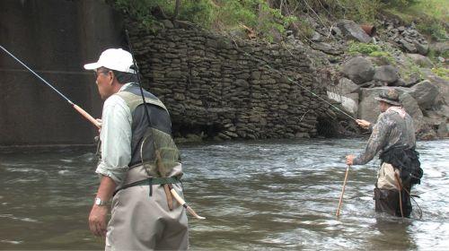 Dr. Ishigaki and TenkaraBum fishing.
