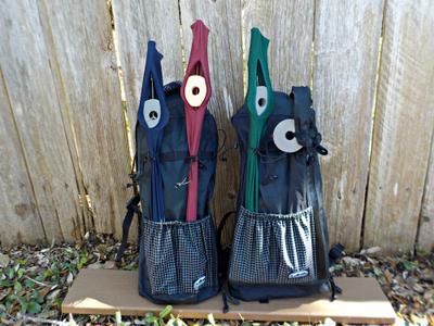 ZimmerBuilt Tenkara Sling Lite Pack on Left and Guide Sling on Right