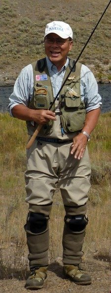 Dr. Ishigaki in West Yellowstone, wearing his Wader Gaiters
