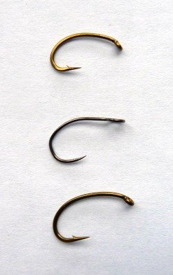Three hooks for size comparison. Size 14 scud hook, Wide Eyed hook and size 12 scud hook.